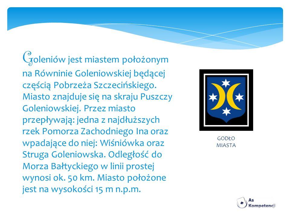 G oleniów jest miastem położonym na Równinie Goleniowskiej będącej częścią Pobrzeża Szczecińskiego. Miasto znajduje się na skraju Puszczy Goleniowskie