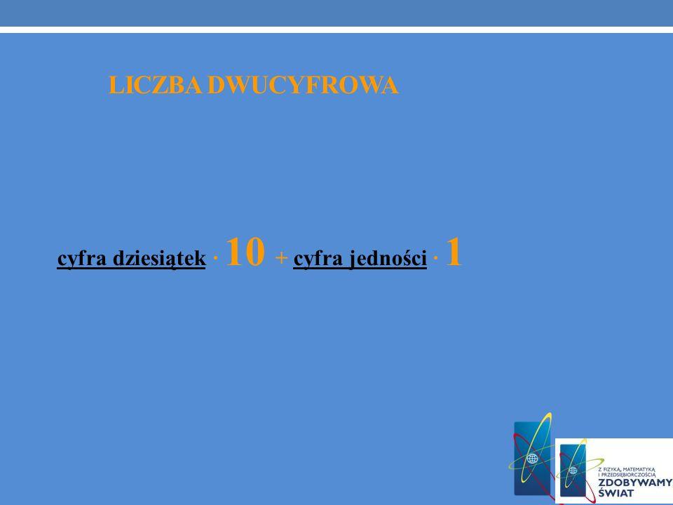 cyfra dziesiątek · 10 + cyfra jedności · 1 LICZBA DWUCYFROWA