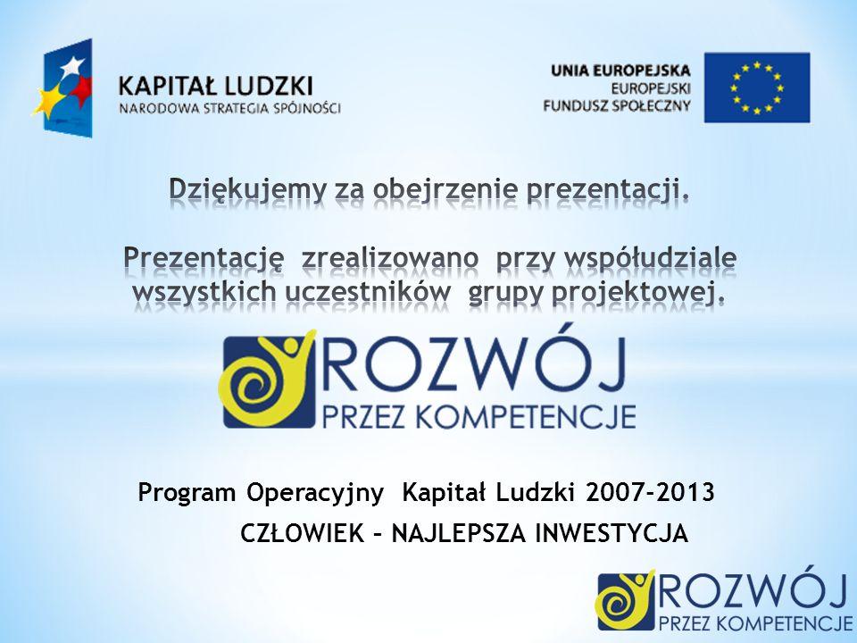 Program Operacyjny Kapitał Ludzki 2007-2013 CZŁOWIEK – NAJLEPSZA INWESTYCJA