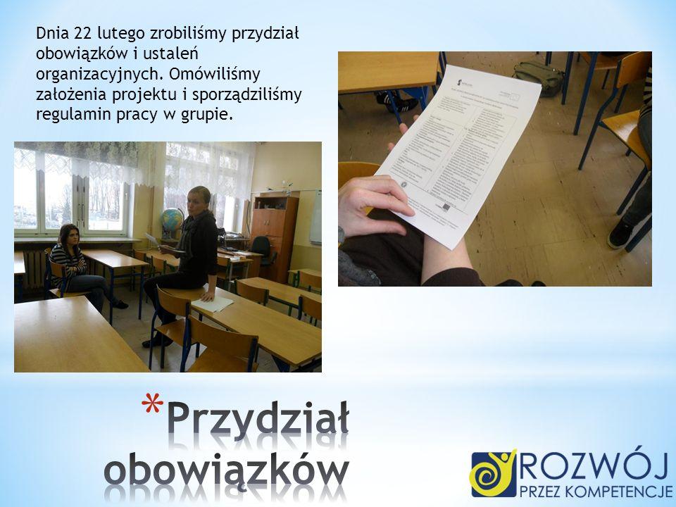 Dnia 22 lutego zrobiliśmy przydział obowiązków i ustaleń organizacyjnych. Omówiliśmy założenia projektu i sporządziliśmy regulamin pracy w grupie.