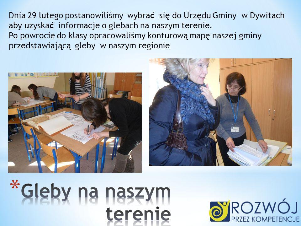 Dnia 29 lutego postanowiliśmy wybrać się do Urzędu Gminy w Dywitach aby uzyskać informacje o glebach na naszym terenie. Po powrocie do klasy opracowal