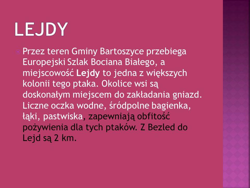 Przez teren Gminy Bartoszyce przebiega Europejski Szlak Bociana Białego, a miejscowość Lejdy to jedna z większych kolonii tego ptaka. Okolice wsi są d