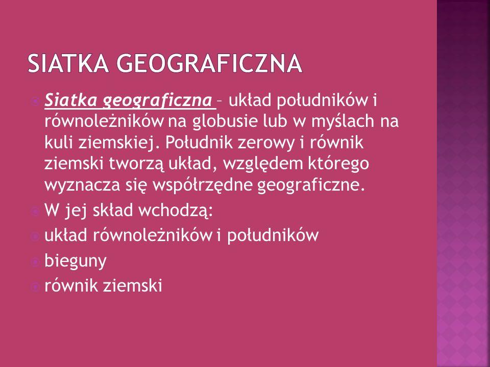 Siatka geograficzna – układ południków i równoleżników na globusie lub w myślach na kuli ziemskiej. Południk zerowy i równik ziemski tworzą układ, wzg