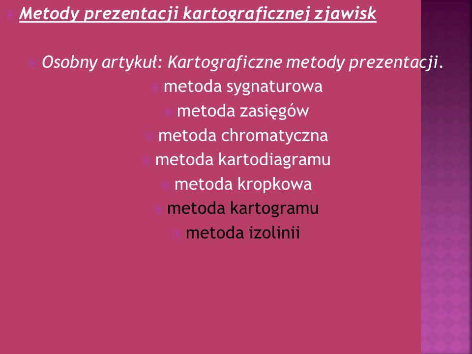 Metody prezentacji kartograficznej zjawisk Osobny artykuł: Kartograficzne metody prezentacji. metoda sygnaturowa metoda zasięgów metoda chromatyczna m