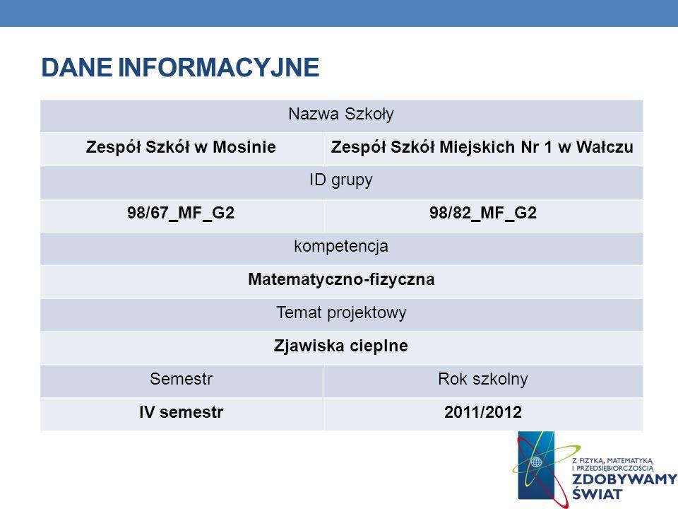 DANE INFORMACYJNE Nazwa Szkoły Zespół Szkół w MosinieZespół Szkół Miejskich Nr 1 w Wałczu ID grupy 98/67_MF_G298/82_MF_G2 kompetencja Matematyczno-fiz