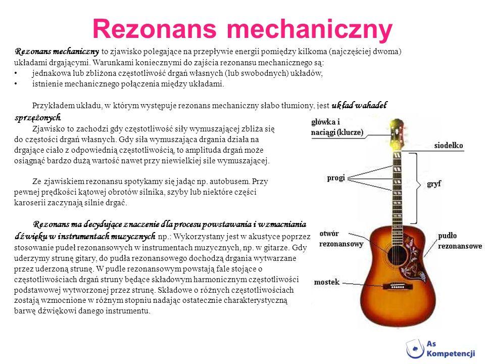 Rezonans mechaniczny Rezonans mechaniczny to zjawisko polegające na przepływie energii pomiędzy kilkoma (najczęściej dwoma) układami drgającymi. Warun