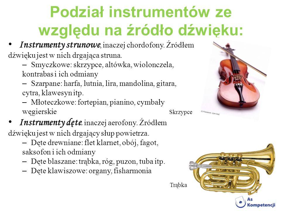 Podział instrumentów ze względu na źródło dźwięku: Instrumenty strunowe, inaczej chordofony. Źródłem dźwięku jest w nich drgająca struna. – Smyczkowe: