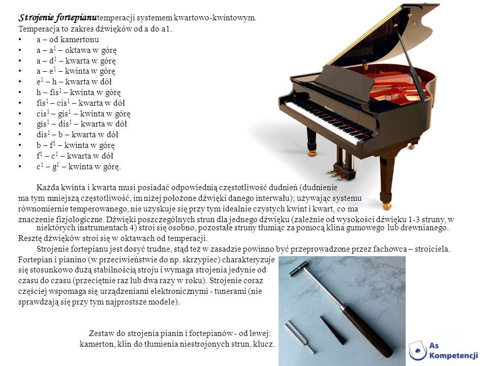 Strojenie fortepianu temperacji systemem kwartowo-kwintowym. Temperacja to zakres dźwięków od a do a1. a – od kamertonu a – a 1 – oktawa w górę a – d
