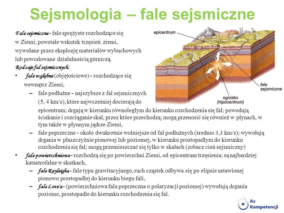 Sejsmologia – fale sejsmiczne Fale sejsmiczne - fale sprężyste rozchodzące się w Ziemi, powstałe wskutek trzęsień ziemi, wywołane przez eksplozję mate
