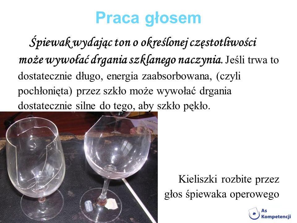 Praca głosem Śpiewak wydając ton o określonej częstotliwości może wywołać drgania szklanego naczynia. Jeśli trwa to dostatecznie długo, energia zaabso