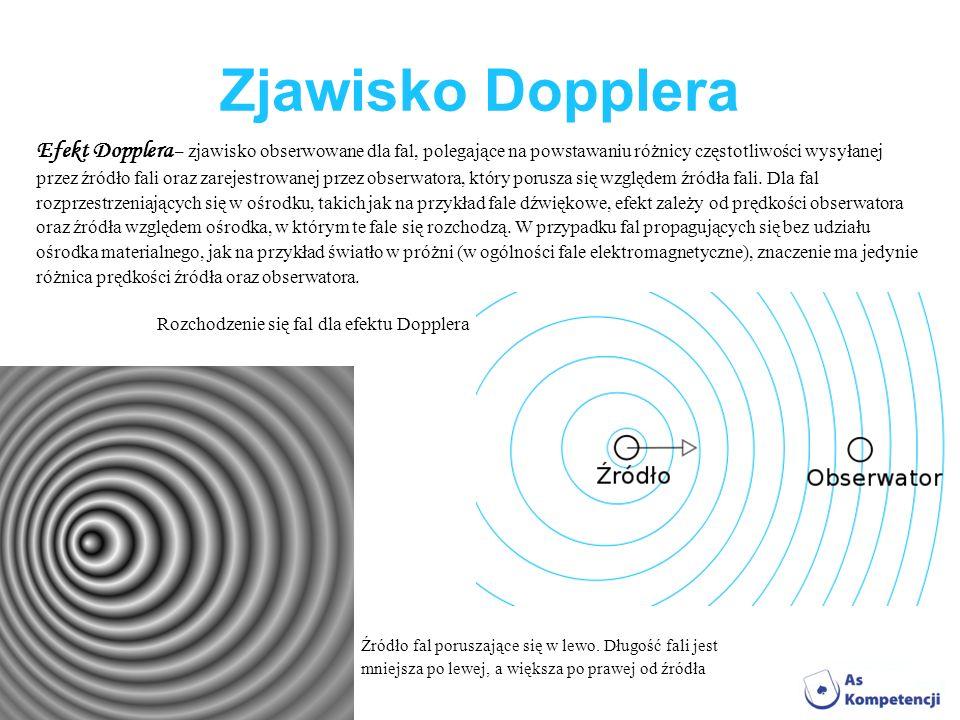 Zjawisko Dopplera Efekt Dopplera – zjawisko obserwowane dla fal, polegające na powstawaniu różnicy częstotliwości wysyłanej przez źródło fali oraz zar