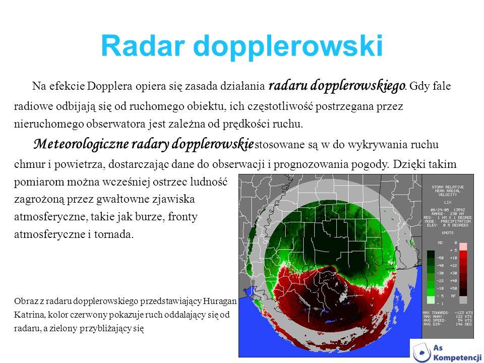 Radar dopplerowski Na efekcie Dopplera opiera się zasada działania radaru dopplerowskiego. Gdy fale radiowe odbijają się od ruchomego obiektu, ich czę