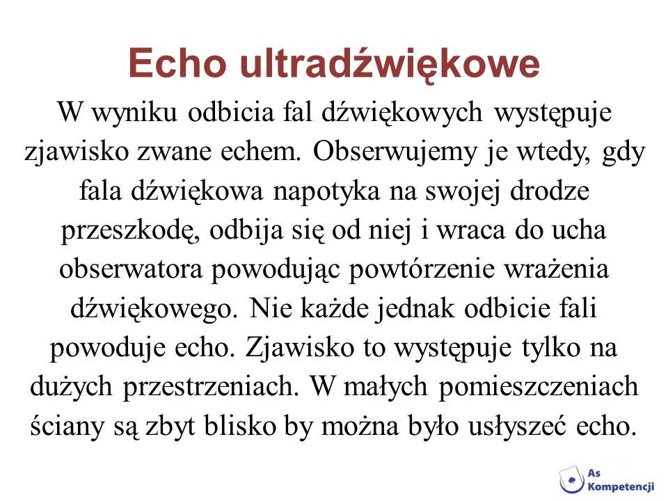 Echo ultradźwiękowe W wyniku odbicia fal dźwiękowych występuje zjawisko zwane echem. Obserwujemy je wtedy, gdy fala dźwiękowa napotyka na swojej drodz