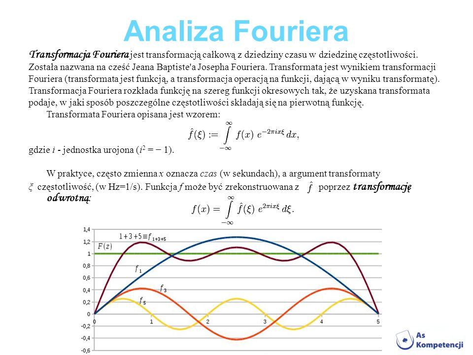 Analiza Fouriera Transformacja Fouriera jest transformacją całkową z dziedziny czasu w dziedzinę częstotliwości. Została nazwana na cześć Jeana Baptis