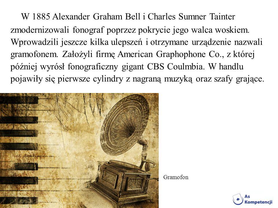 W 1885 Alexander Graham Bell i Charles Sumner Tainter zmodernizowali fonograf poprzez pokrycie jego walca woskiem. Wprowadzili jeszcze kilka ulepszeń