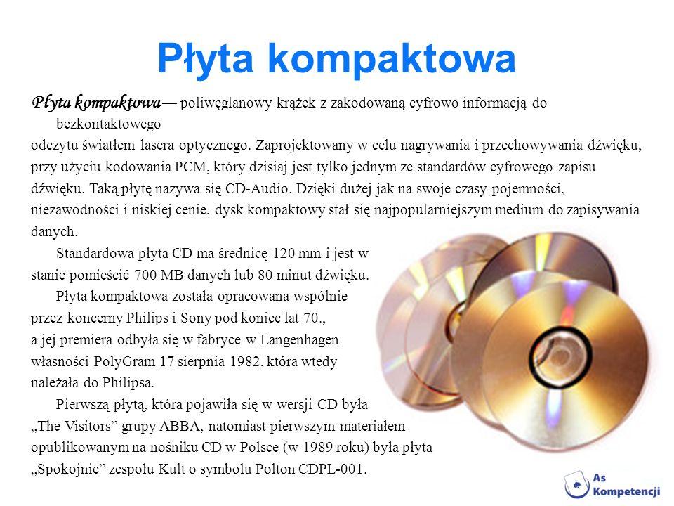 Płyta kompaktowa Płyta kompaktowa poliwęglanowy krążek z zakodowaną cyfrowo informacją do bezkontaktowego odczytu światłem lasera optycznego. Zaprojek