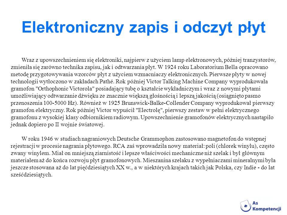 Elektroniczny zapis i odczyt płyt Wraz z upowszechnieniem się elektroniki, najpierw z użyciem lamp elektronowych, później tranzystorów, zmieniła się z
