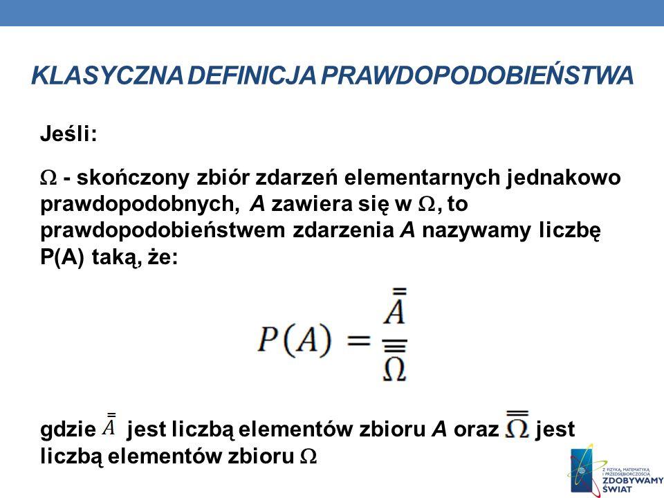KLASYCZNA DEFINICJA PRAWDOPODOBIEŃSTWA Jeśli: - skończony zbiór zdarzeń elementarnych jednakowo prawdopodobnych, A zawiera się w, to prawdopodobieństwem zdarzenia A nazywamy liczbę P(A) taką, że: gdzie jest liczbą elementów zbioru A oraz jest liczbą elementów zbioru