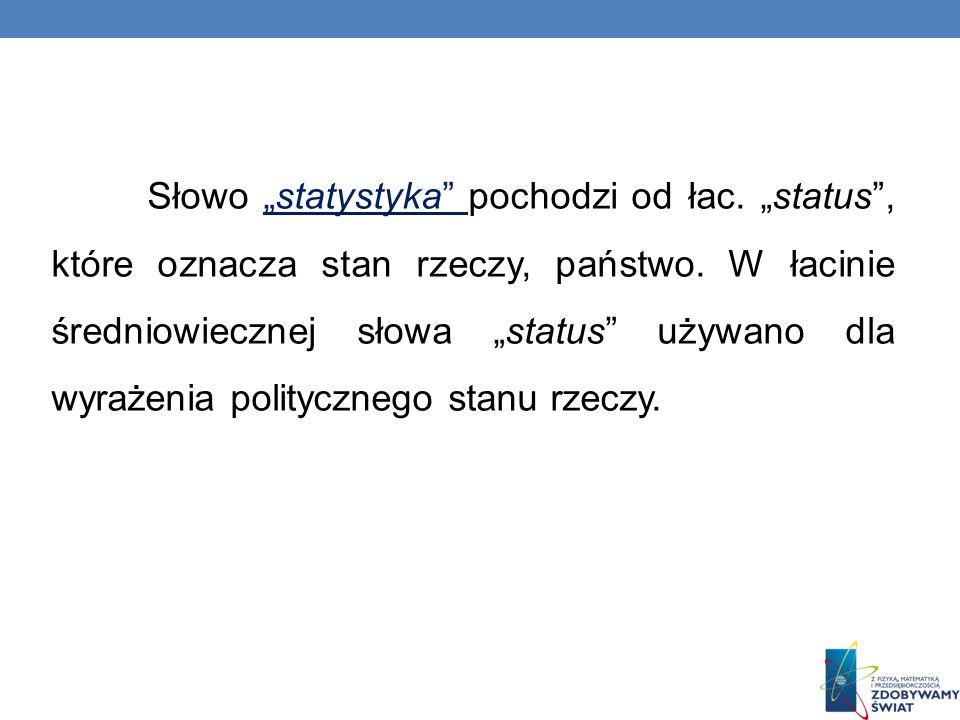 Słowo statystyka pochodzi od łac. status, które oznacza stan rzeczy, państwo.