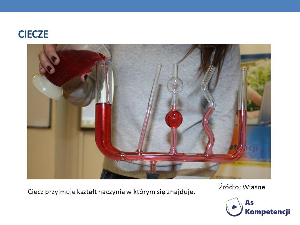 CIECZE Ciecz przyjmuje kształt naczynia w którym się znajduje. Źródło: Własne