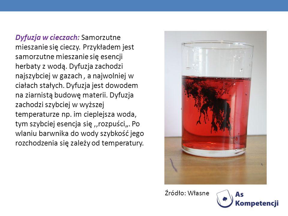 Dyfuzja w cieczach: Samorzutne mieszanie się cieczy. Przykładem jest samorzutne mieszanie się esencji herbaty z wodą. Dyfuzja zachodzi najszybciej w g