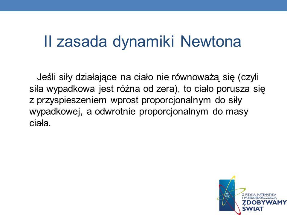 II zasada dynamiki Newtona Jeśli siły działające na ciało nie równoważą się (czyli siła wypadkowa jest różna od zera), to ciało porusza się z przyspie