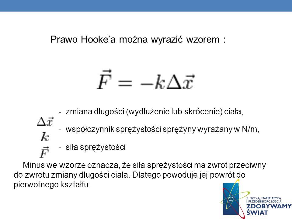 Prawo Hookea można wyrazić wzorem : - zmiana długości (wydłużenie lub skrócenie) ciała, - współczynnik sprężystości sprężyny wyrażany w N/m, - siła sp