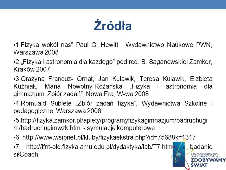 Źródła 1.Fizyka wokół nas Paul G. Hewitt, Wydawnictwo Naukowe PWN, Warszawa 2008 2.Fizyka i astronomia dla każdego pod red. B. Saganowskiej Zamkor, Kr