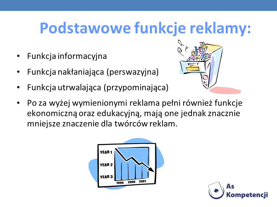 Podstawowe funkcje reklamy: Funkcja informacyjna Funkcja nakłaniająca (perswazyjna) Funkcja utrwalająca (przypominająca) Po za wyżej wymienionymi rekl