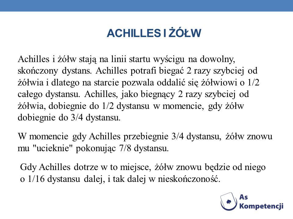 ACHILLES I ŻÓŁW Achilles i żółw stają na linii startu wyścigu na dowolny, skończony dystans. Achilles potrafi biegać 2 razy szybciej od żółwia i dlate