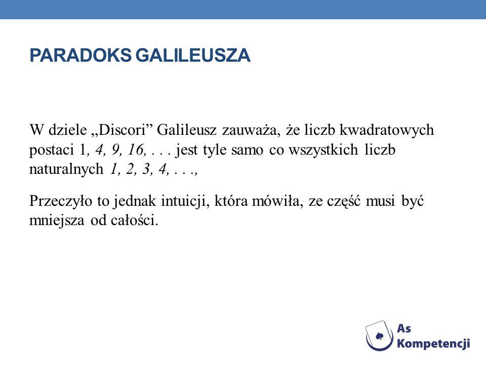 PARADOKS GALILEUSZA W dziele Discori Galileusz zauważa, że liczb kwadratowych postaci 1, 4, 9, 16,... jest tyle samo co wszystkich liczb naturalnych 1