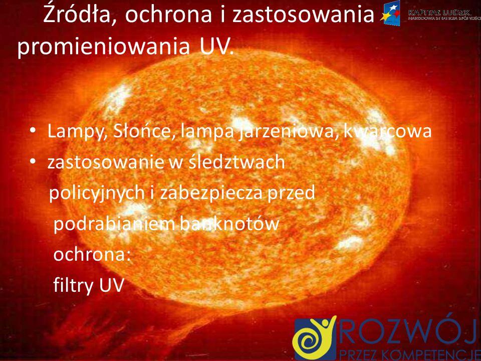 Źródła, ochrona i zastosowania promieniowania UV.
