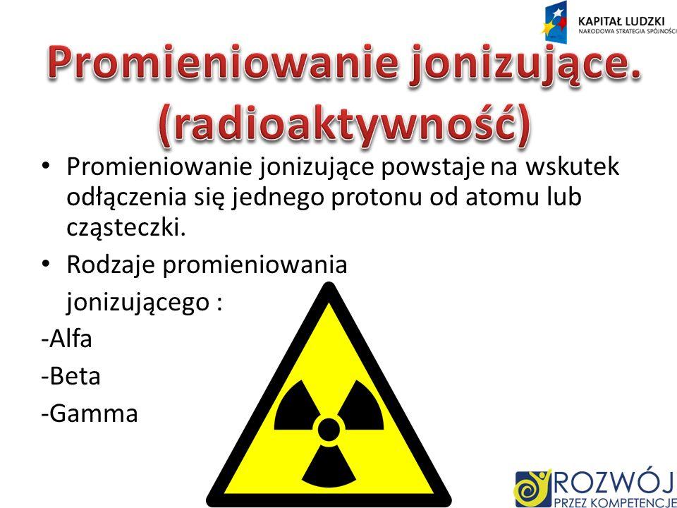 Promieniowanie jonizujące powstaje na wskutek odłączenia się jednego protonu od atomu lub cząsteczki.