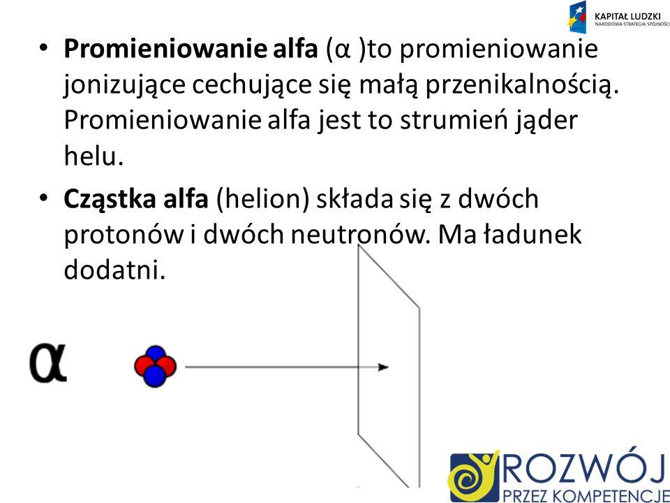 Promieniowanie alfa (α )to promieniowanie jonizujące cechujące się małą przenikalnością.