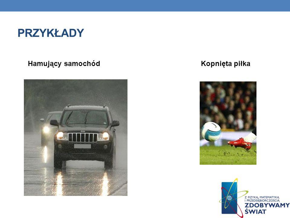 PRZYKŁADY Hamujący samochódKopnięta piłka
