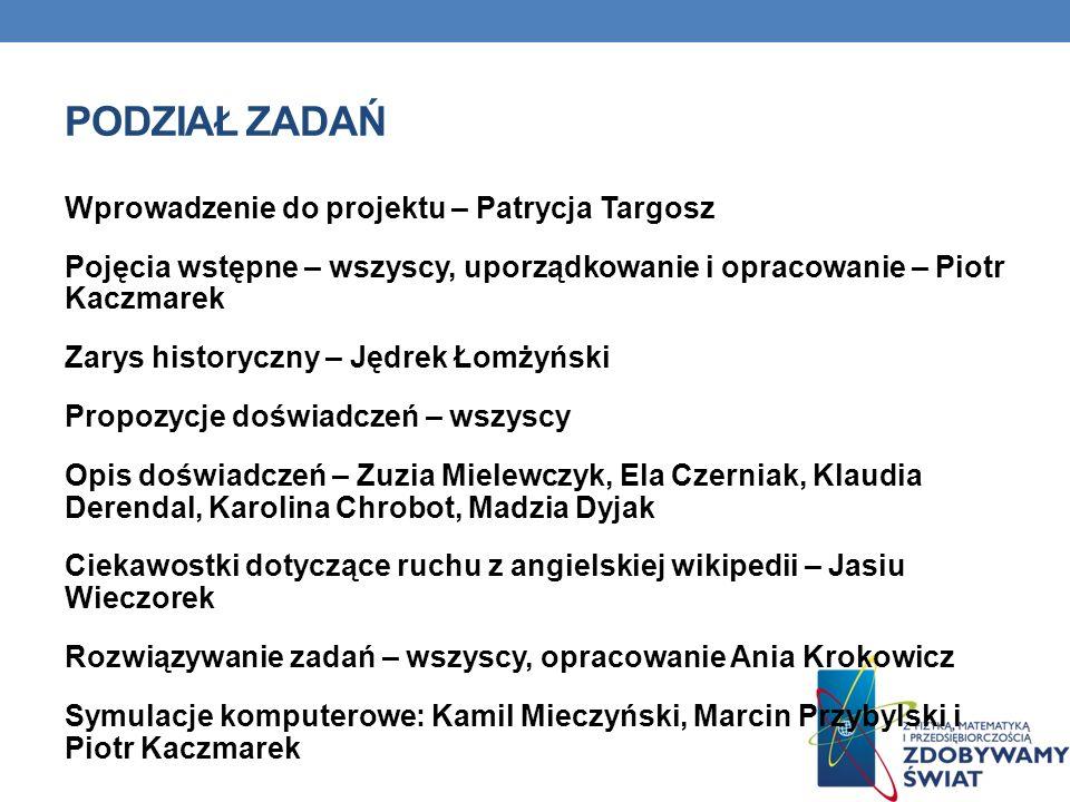 PODZIAŁ ZADAŃ Wprowadzenie do projektu – Patrycja Targosz Pojęcia wstępne – wszyscy, uporządkowanie i opracowanie – Piotr Kaczmarek Zarys historyczny