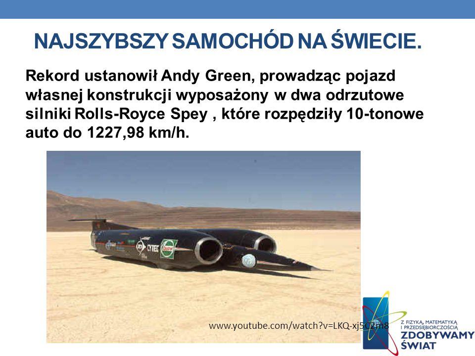 NAJSZYBSZY SAMOCHÓD NA ŚWIECIE. Rekord ustanowił Andy Green, prowadząc pojazd własnej konstrukcji wyposażony w dwa odrzutowe silniki Rolls-Royce Spey,