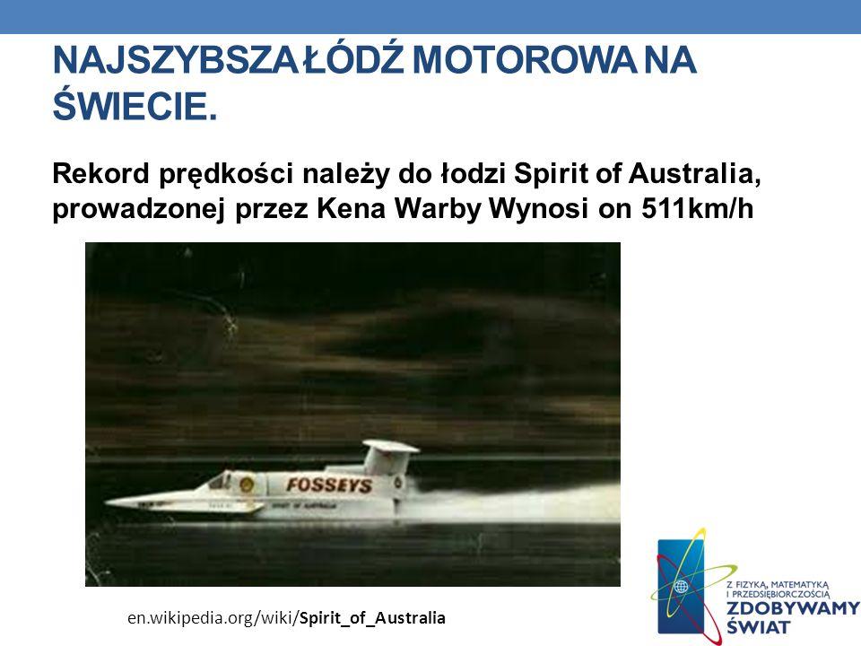 NAJSZYBSZA ŁÓDŹ MOTOROWA NA ŚWIECIE. Rekord prędkości należy do łodzi Spirit of Australia, prowadzonej przez Kena Warby Wynosi on 511km/h en.wikipedia