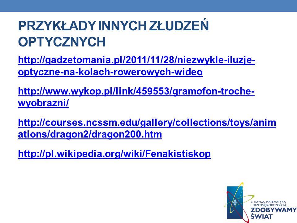 PRZYKŁADY INNYCH ZŁUDZEŃ OPTYCZNYCH http://gadzetomania.pl/2011/11/28/niezwykle-iluzje- optyczne-na-kolach-rowerowych-wideo http://www.wykop.pl/link/4