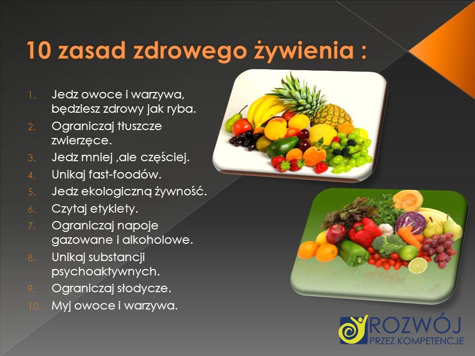 1. Jedz owoce i warzywa, będziesz zdrowy jak ryba. 2. Ograniczaj tłuszcze zwierzęce. 3. Jedz mniej,ale częściej. 4. Unikaj fast-foodów. 5. Jedz ekolog