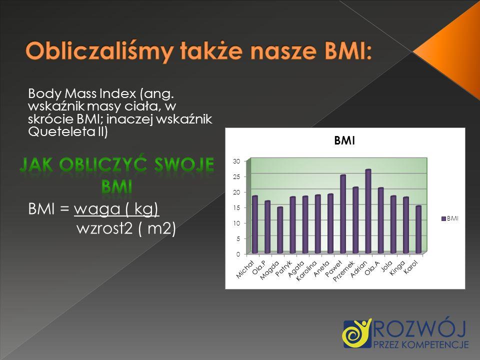 Body Mass Index (ang. wskaźnik masy ciała, w skrócie BMI; inaczej wskaźnik Queteleta II) BMI = waga ( kg) wzrost2 ( m2)