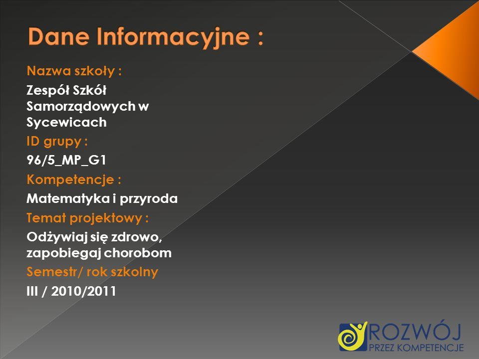 Nazwa szkoły : Zespół Szkół Samorządowych w Sycewicach ID grupy : 96/5_MP_G1 Kompetencje : Matematyka i przyroda Temat projektowy : Odżywiaj się zdrow