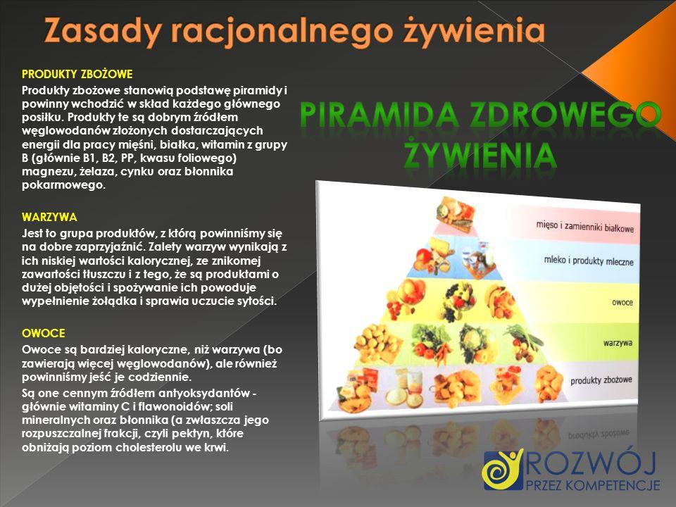 PRODUKTY ZBOŻOWE Produkty zbożowe stanowią podstawę piramidy i powinny wchodzić w skład każdego głównego posiłku. Produkty te są dobrym źródłem węglow