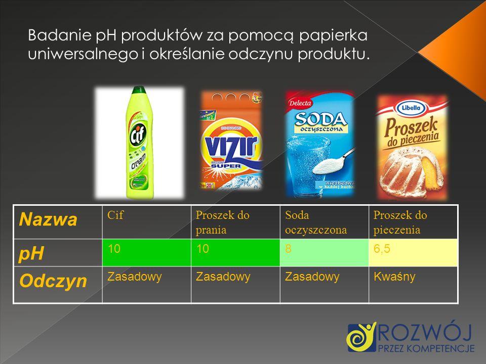 Nazwa CifProszek do prania Soda oczyszczona Proszek do pieczenia pH 10 86,5 Odczyn Zasadowy Kwaśny Badanie pH produktów za pomocą papierka uniwersalne