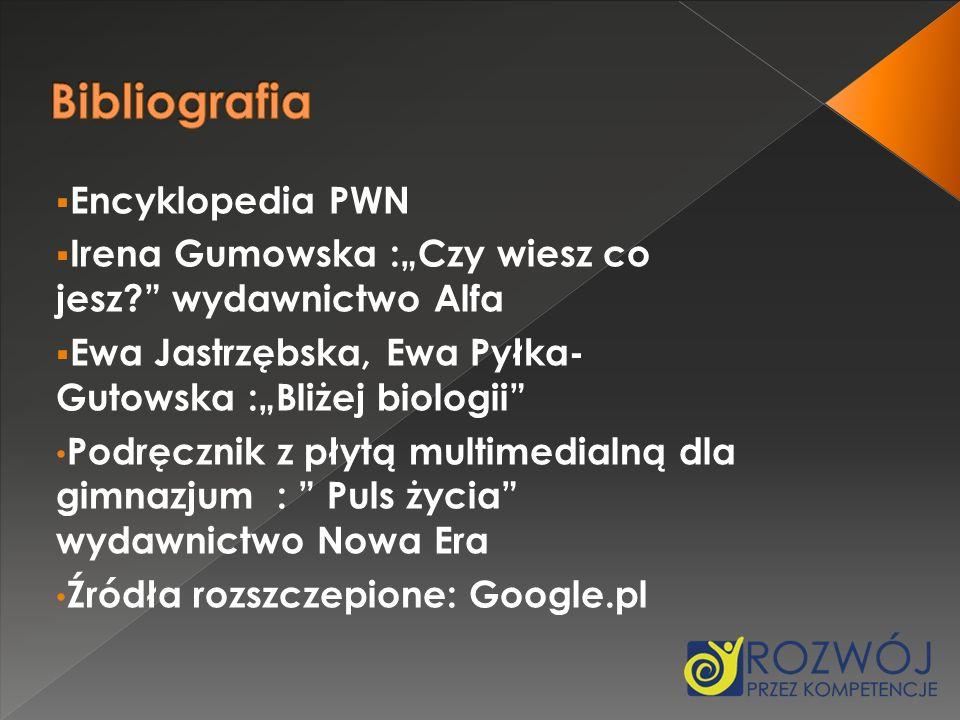 Encyklopedia PWN Irena Gumowska :Czy wiesz co jesz? wydawnictwo Alfa Ewa Jastrzębska, Ewa Pyłka- Gutowska :Bliżej biologii Podręcznik z płytą multimed