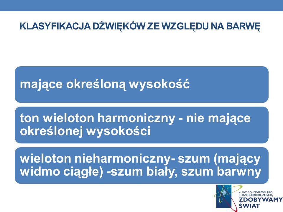KLASYFIKACJA DŹWIĘKÓW ZE WZGLĘDU NA BARWĘ mające określoną wysokość ton wieloton harmoniczny - nie mające określonej wysokości wieloton nieharmoniczny
