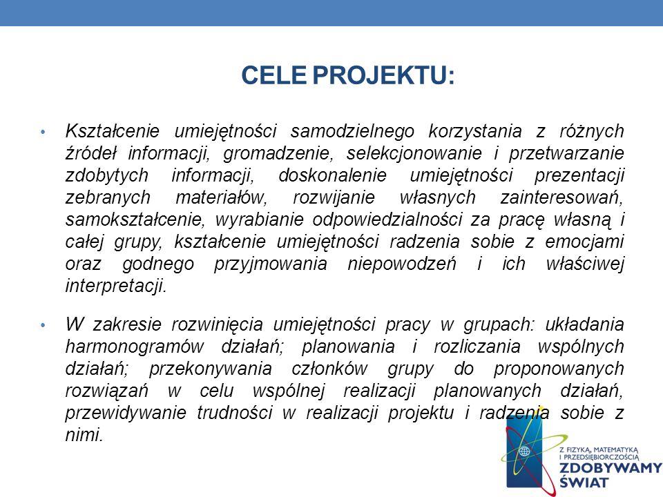 CELE PROJEKTU: Kształcenie umiejętności samodzielnego korzystania z różnych źródeł informacji, gromadzenie, selekcjonowanie i przetwarzanie zdobytych