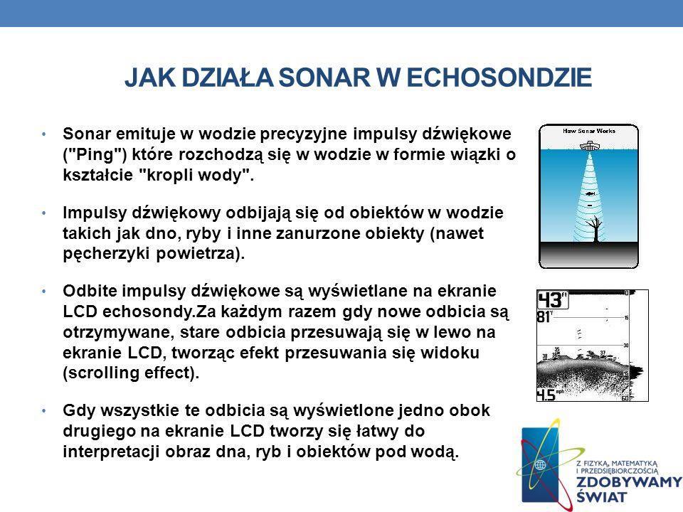 JAK DZIAŁA SONAR W ECHOSONDZIE Sonar emituje w wodzie precyzyjne impulsy dźwiękowe (