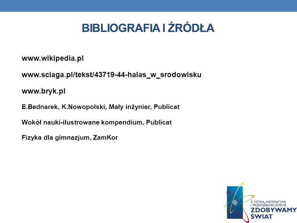 BIBLIOGRAFIA I ŹRÓDŁA www.wikipedia.pl www.sciaga.pl/tekst/43719-44-halas_w_srodowisku www.bryk.pl E.Bednarek, K.Nowopolski, Mały inżynier, Publicat W