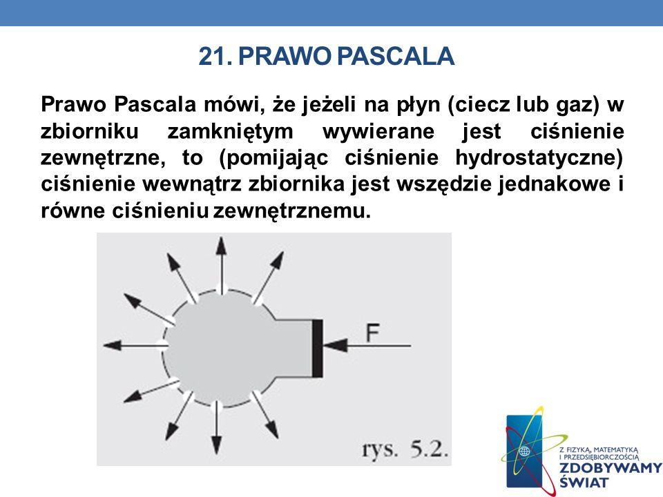 21. PRAWO PASCALA Prawo Pascala mówi, że jeżeli na płyn (ciecz lub gaz) w zbiorniku zamkniętym wywierane jest ciśnienie zewnętrzne, to (pomijając ciśn